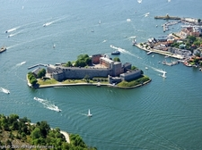 view of vaxholm and tourist attraction castle on island