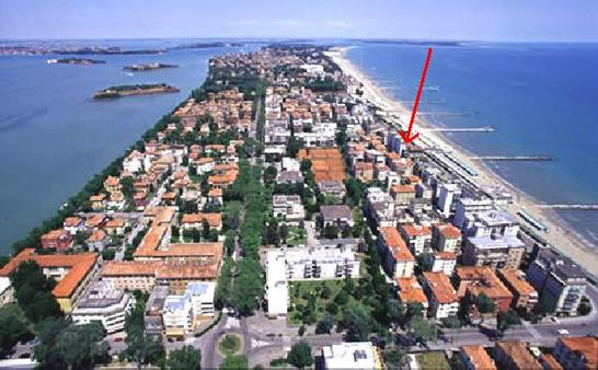 Island of Lido - panorama: Venice historic center visible on the left side