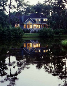 Our Kiawah home from across the lagoon by the Cougar Point Golf course.