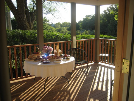 Porch Flooded WIth Afternoon Sun: West Side Porch Overlooking Conservation Area
