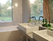 Master Bath: Double marble sinks, tub, separate glass enclosed shower, vineyard view