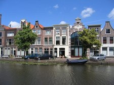 The Oude Singel in Leiden - our house is the white one in the middle
