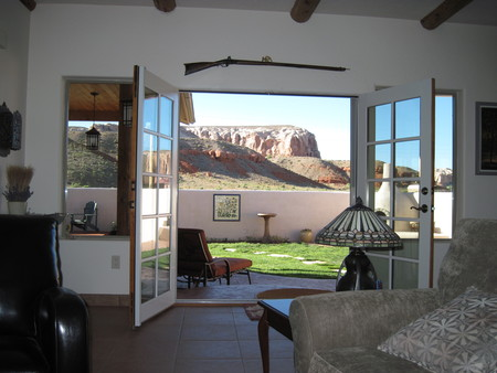 View of bluffs from living room.
