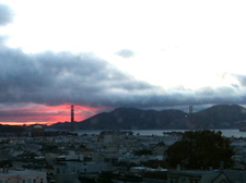 Sunsets over Golden Gate from roof deck