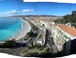 Panorama of Nice: View of the Promenade des Anglais from the old castle in Nice.