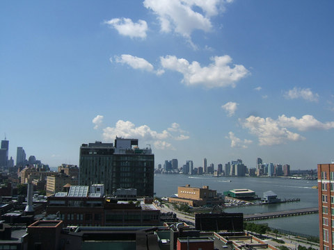 View South West over Hudson River to downtown Manhattan.