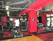Fitness center: The other side of the fitness center, showing the cardio machines and flat-screen TVs. the large wall of windows is to the right.