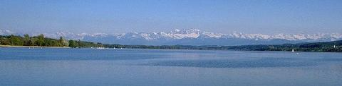 Lake of Greifensee: Lake of Greifensee - with Alps