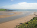 Bigbury and Bantham beaches with River Avon flowing into the sea.