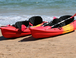 Sea kayaks on Bigbury beach