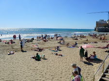 One of the many beaches in Sitges