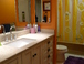 Beatrix's bathroom: Newly remodeled with combo bath/shower, toilet, sink and Silestone counters.