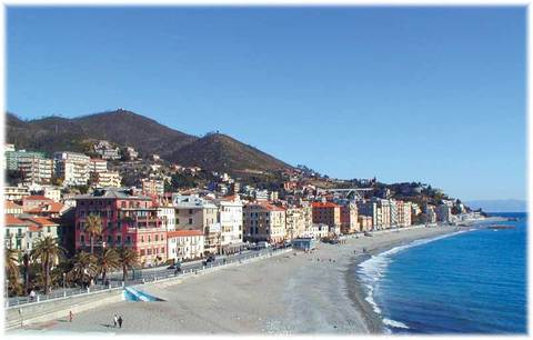 Varazze in winter. During the summer the shore is fully equipped.