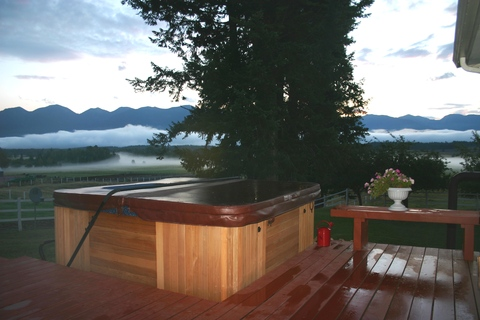 large private hot tub on lower level for private use of our guests