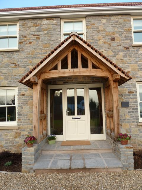 Front Door: Oak Porch and front door