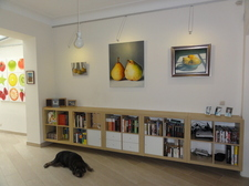 Bookshelves and artwork