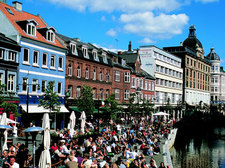 Aarhus Center with a lot of cafés and great shopping opportunity. Situated