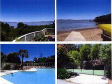 View from deck, beach, pool and sport court