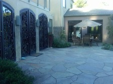 Front doors and outdoor table