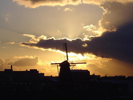View from living room: The Old windmill De Gooyer still working once a week