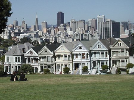 Alamo Square: The famous postcard view of the Seven Painted Ladies, with the city skyline in the background, is just two blocks away ...