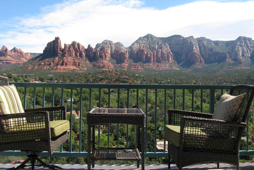 Sit back, sip a tall cool one, and enjoy a spectacular view from our deck.